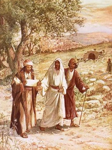 Jesus and two travelers of the road to Emmaus